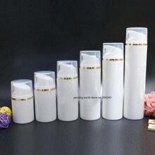 80 мл белая пластмассовая Вакуумная бутылка с золотой линией белая/прозрачная крышка для лосьона/эмульсии/основы/анти-УФ основа/Сыворотка Упаковка