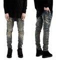 Europa Estados Unidos Jeans Skinny Homens 2017 Nova Moda Runway Afligido Jeans Slim Elásticas Mens Motociclista Denim Jeans Preto Mens