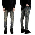Europe  United States  Skinny Jeans Men 2017 New Fashion Runway Distressed Slim Elastic Jeans Mens Denim Biker Black Jeans Mens