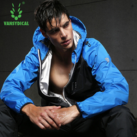 Vansydical Men's Sports Running Tops Hot Sweat Jackets Fitness Bodybuilding Clothes Zipper Training Hoodies