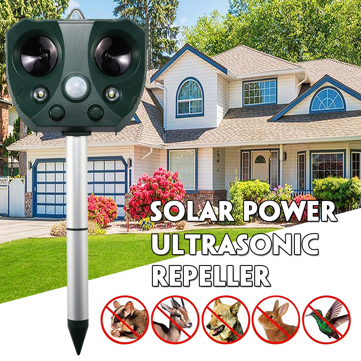 1Pcs Solar Sensor Ultrasonic Pest Repellent Electronic Repeller with LED strong flash light for Protect the garden farmland