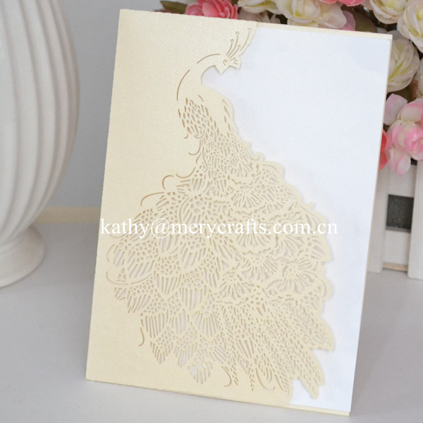 Aliexpress Buy Wholesale Laser Cut Paper Peacock Wedding Invitations Red Pocketfolds Pocketlaser Envelopes From Reliable