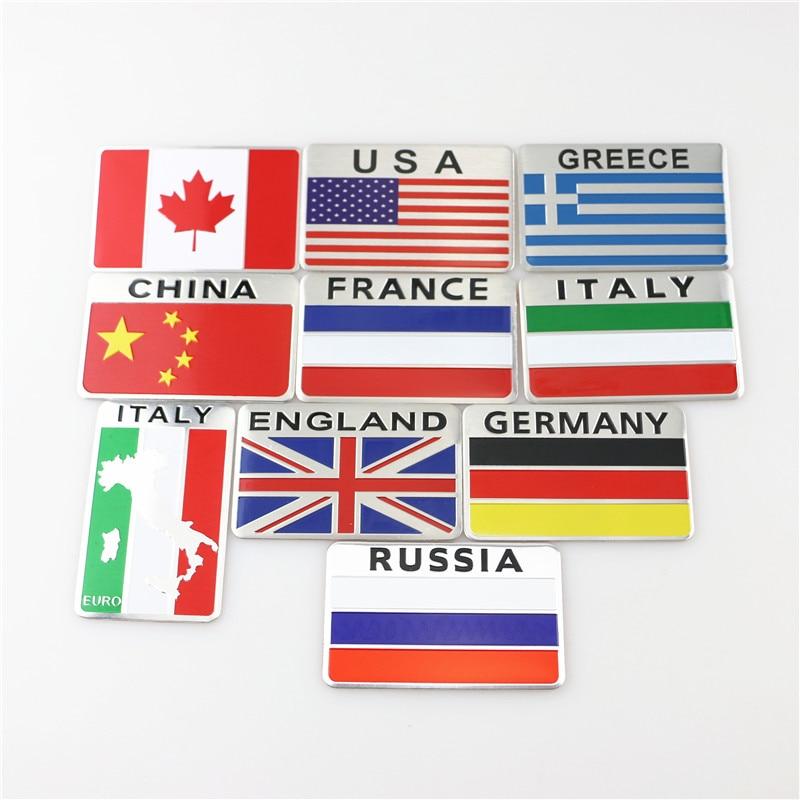 Quality Metal Car Sticker, Wall Sticker, Fridge Decor, US, UK, France, Germany, Italy, China National Flag