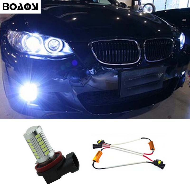 BOAOSI 1x H11 5630SMD LED Fog DRL Light Bulb No Error Lamp For BMW E71 X6 M E70 X5 E83 F25 x3 Car Accessories boaosi 1x h11 high power led light 4014 33smd 30w fog light driving drl car light no error for bmw e71 x6 m e70 x5 e83 f25 x3