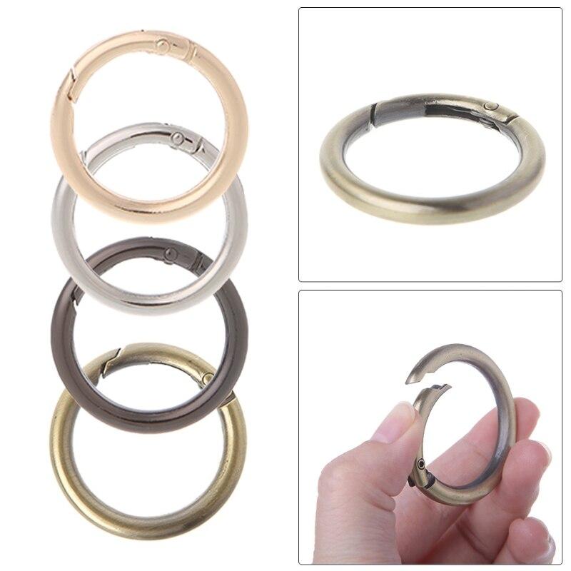 5PCS Round Ring Circle Spring Snap For DIY Keyring Hook Bag Buckle Handbag Purse