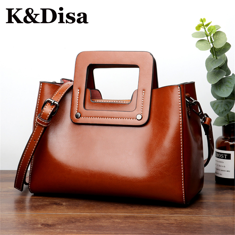 2018 New Women Satchels European American Style Genuine Leather Handbags  Fashion Ladies Messenger Bags Casual Solid Shoulder Bag 54d51470a2