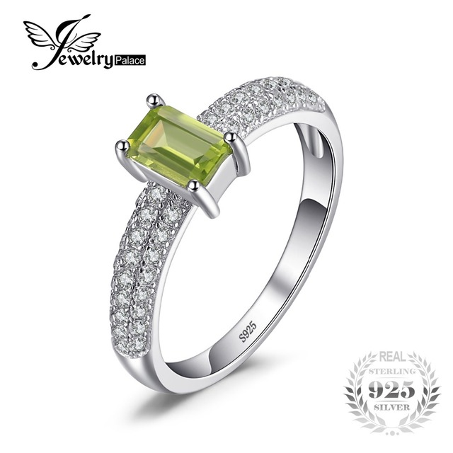 JewelryPalace Classic 0.87ct Emerald Cut Natural Peridot Engagement Ring For Wom