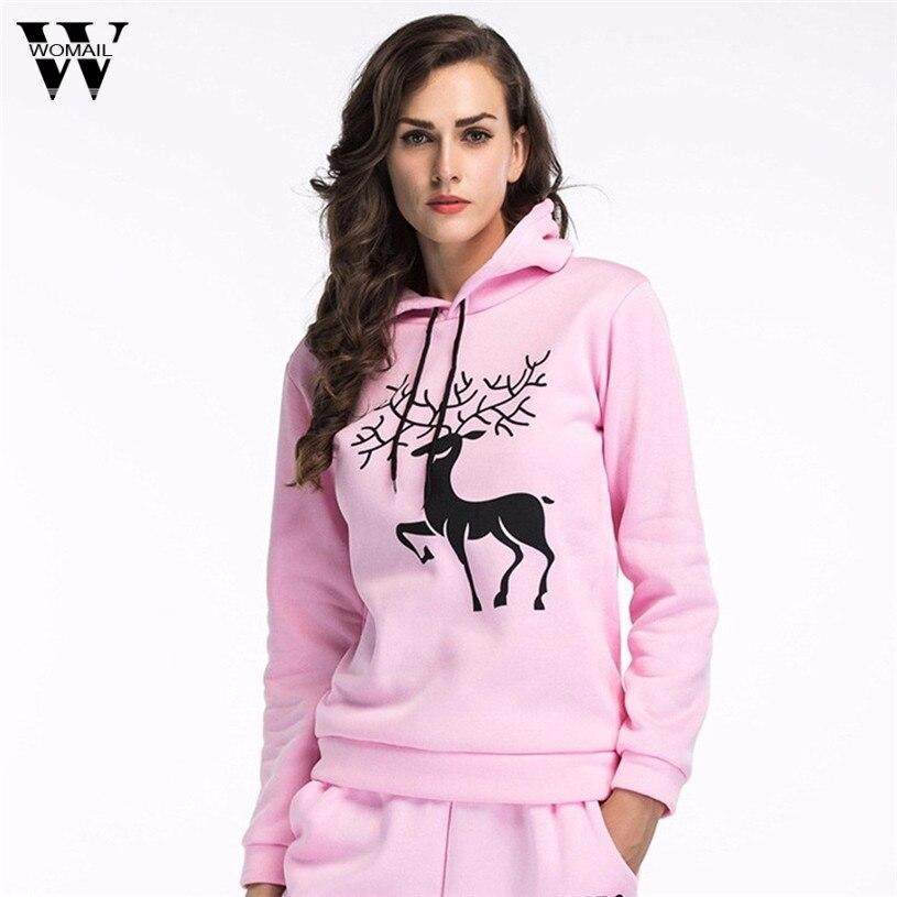 Womail 2017 New Christmas Rave Hoodie Deer Print Hooded Sweatshirts Women Unisex Sweats Tops Pullovers Long Sleeve Dropship#30