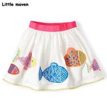Peu maven 2017 new summer bébé fille vêtements poissons imprimer coton mini A-ligne jupe S0167