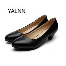 YALNN Fashion Black 3CM High Heels Pump Mature Women Shoes Dress Pointed Toe Office Lady Shallow Dress Pumps Women Shoes