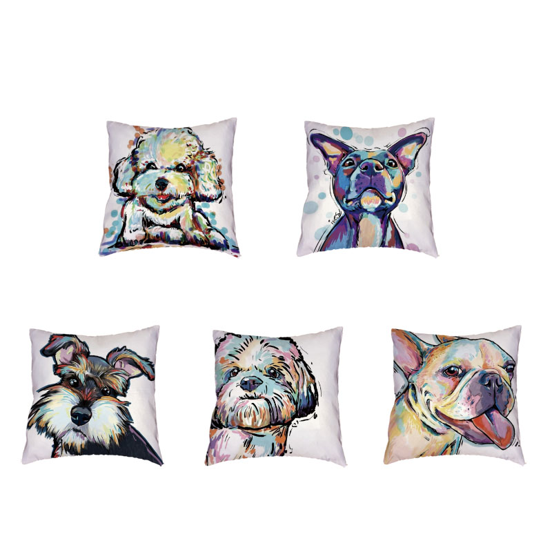Lovely Dogs Pattern Polyester Peach Skin White Cushion Cover Bulldog Schnauzer Pug Dog Printing Home Couch Decoration Pillowcase