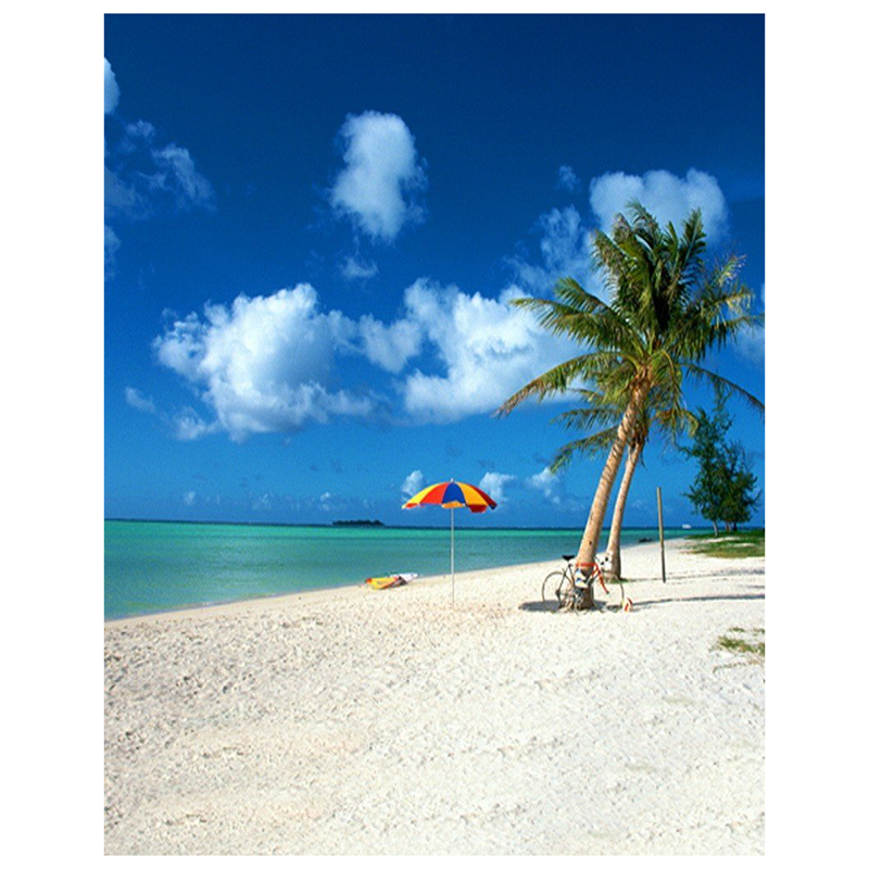 0.9x1.5m Computer Printed Fabric Vinyl Thin Photo Studio Props Photography Backdrops Blue Seaside Beach Sky Clouds Theme White