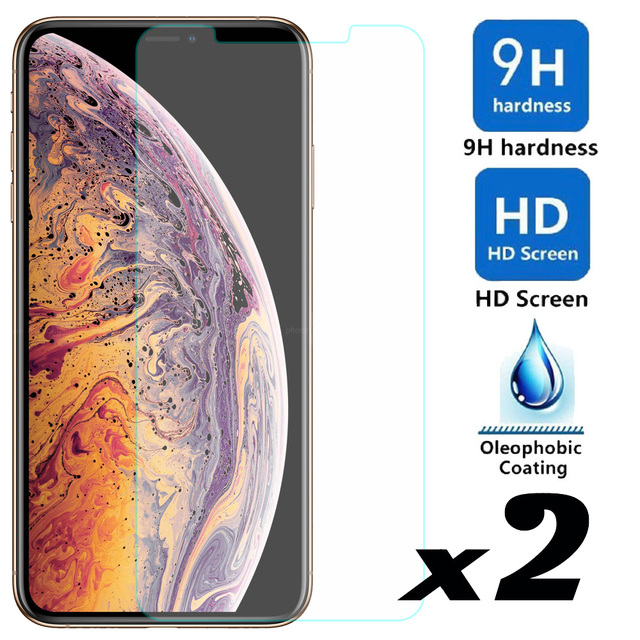 elegaming 2pcs Tempered Glass Screen Protector Explosion-proof Bubble For iPhone X XS
