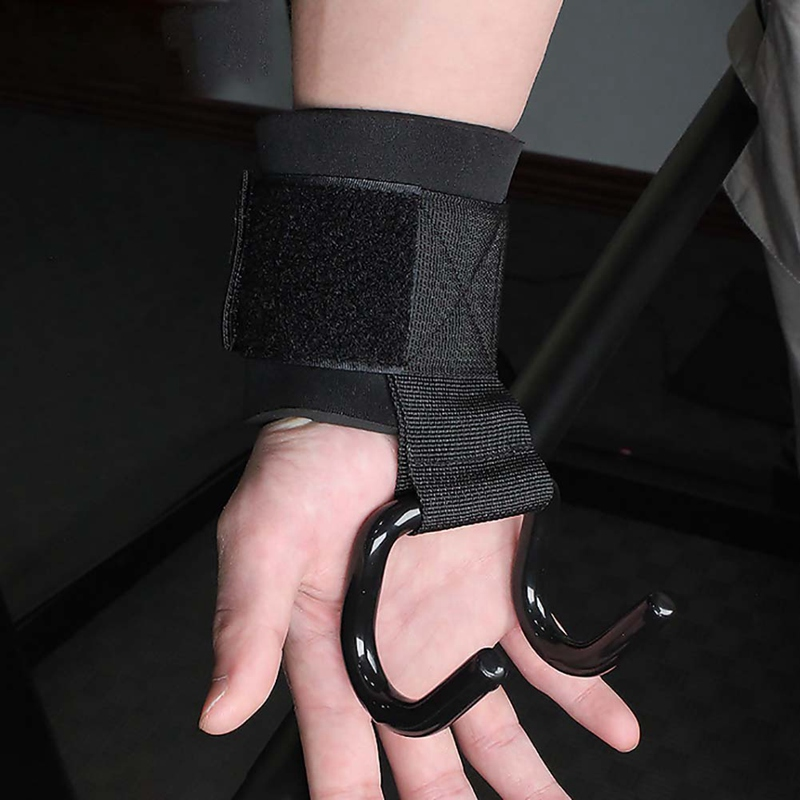 2pcs Wrist Support With Hooks Anti-slip Adjustable Gloves Gym Fitness Weight Lifting Arms Strength Training Strap Grip