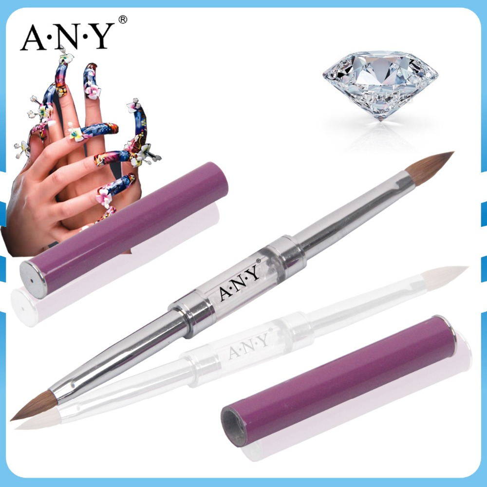 Free Shipping ANY Purple Metal Handle Pure Kolinsky Hair Two Use 8#+4# Acrylic Brush Single Piece
