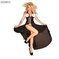 SESERIA Deep V Women Erotic Black Fetish Clubwear Party Faux Leather Dress Sexy Pole Dance Dress