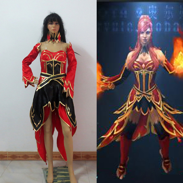 Dota 2 Lina Inverse Cosplay Costume Custom Made Any Size In Game