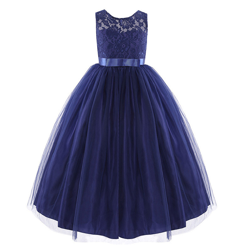 Kids Girls Wedding Flower Dress Princess Party Pageant Formal Dresses Sleeveless Long Clothes Children Toddler Vestido For 4-15Y summer dresses for girls 2016 kids clothes evening party princess dress children flower wedding vestido coat 2 piece set