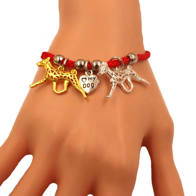 2 Colors Basenji Dog Animal Charm Bracelet For Women Men Couple Love Rope Male Female Pearl Red Heart Black Girls  jewelry