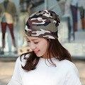 Nuevas Mujeres de Camuflaje Sombrero Turbante Sombrero de Hip Hop Marca Informal Venta de alta Calidad Los Hombres Calientes Del Invierno Caliente Skullies Sombrero Femenino gorros
