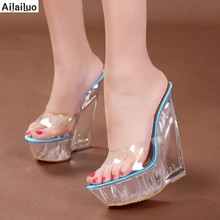 ae2e4f968063 Summer Fashion High Heel Wedge Slippers Transparent Shoes Woman Platform  Wedges Comfortable Crystal Sandals Beige Pink Blue 3003