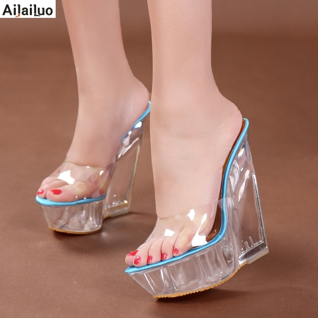 Women's Leopard Transparent Open Toe Slippers Sandals High Wedge Shoes Casual