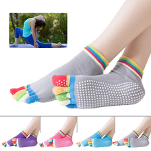 1Pair Women Toes Socks Gym Dance Sport Exercise Five Fingers Non Slip Massage Fitness Dots Warm 4 Colors