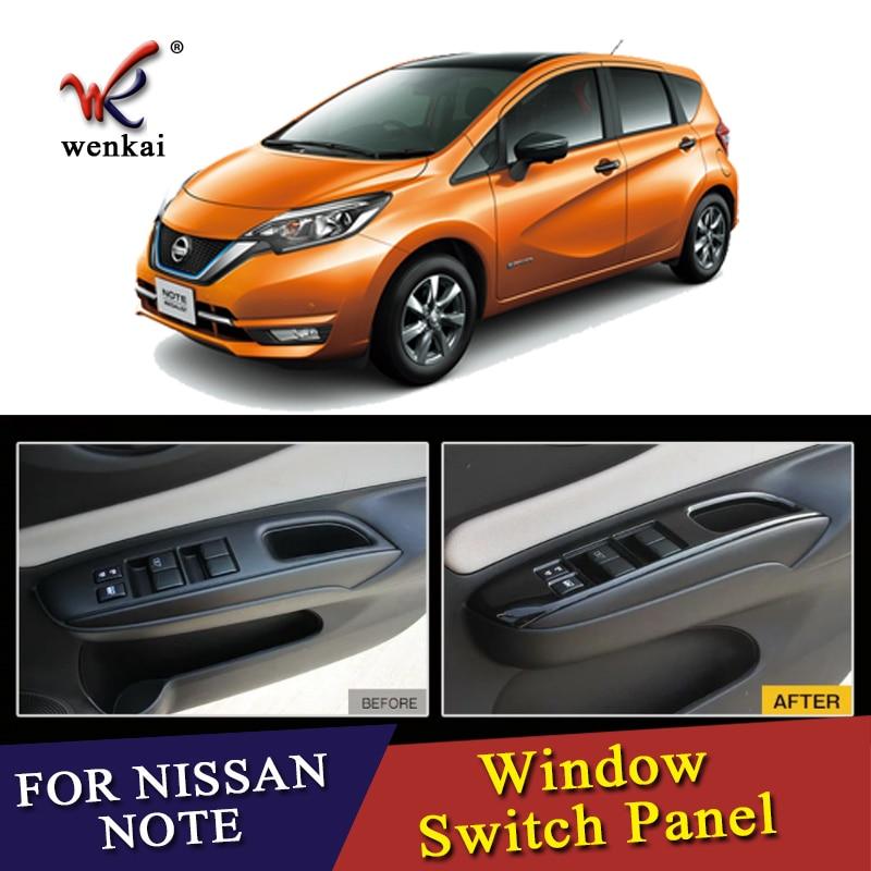 Car Interior Decorative Accessories For Nissan Note E12 E-power Right Drive Inner Window Switch Cover Piano Black ABS 4Pcs