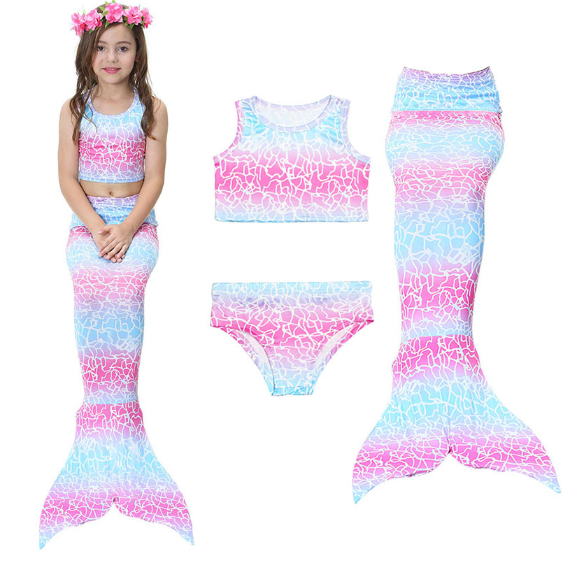 Mother & Kids Girls Mermaid Tail Swimsuit Fashion Bikinis Set Kids Swimwear Mermaid Tails Cosplay Costumes Beach Swimming Clothes Girl Swim