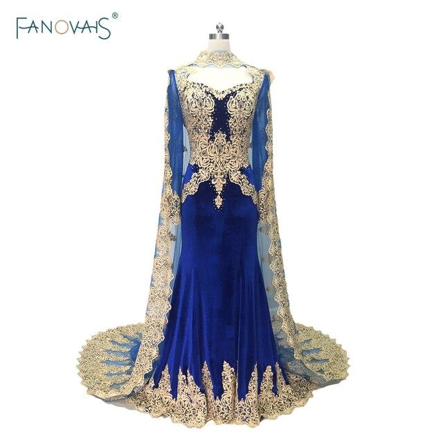 Elegant Mermaid Evening Dresses 2019 Long Sleeves with Cape Dubai Muslim Prom Dress Applique Lace Beaded Robe de Soiree RE1