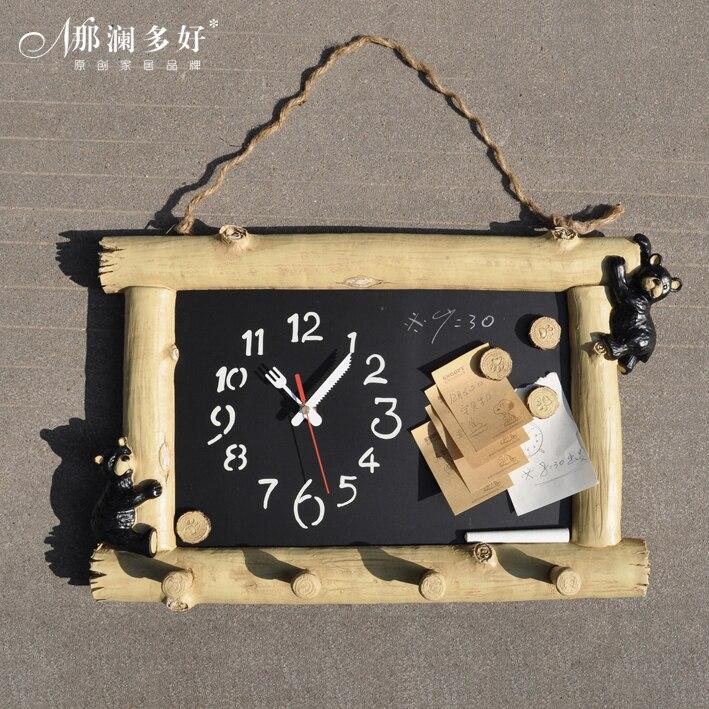Accueil personnel petit tableau noir horloge à faire soi-même muet amusant ours message tableau horloge murale