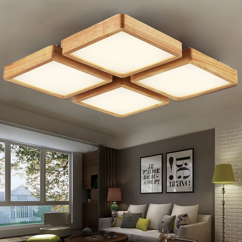 Square Wood Ceiling Lamp Led Lights Wooden Grain Led