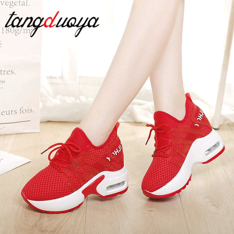 2020 New Casuals Women Platform White Casuals Shoes Casual  Breathable Soft Women Chunky Shoes Mesh Shoes For Woman