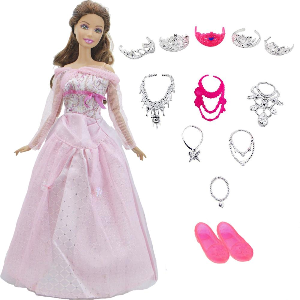 13 PCS=1 Dress +1 Shoes +5 Crowns +6 Necklaces Lot Princess Random Accessories Ball Gown Clothes For Barbie Doll Christmas Toy