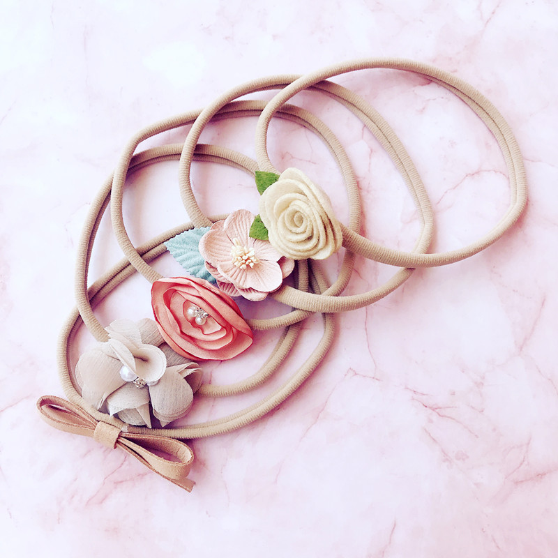 5 Piece Children Girls Fashion Bow Tie Head Hair Band Print Baby Newborn Hair Rope Headband Headwear Headwrap