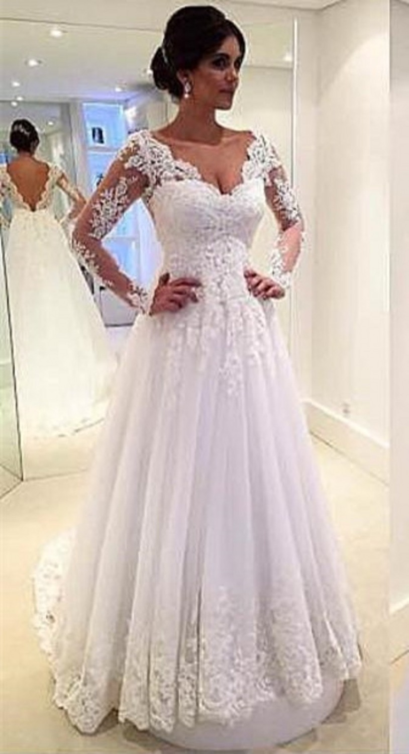 63670a4a61f587 New Style White Wedding Dress Lace Long Sleeve Sexy Backless Bride