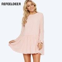 Refeeldeer 2017 Autumn Back Button Long Sleeve Dress For Women Casual Loose Short Mini Dress Female