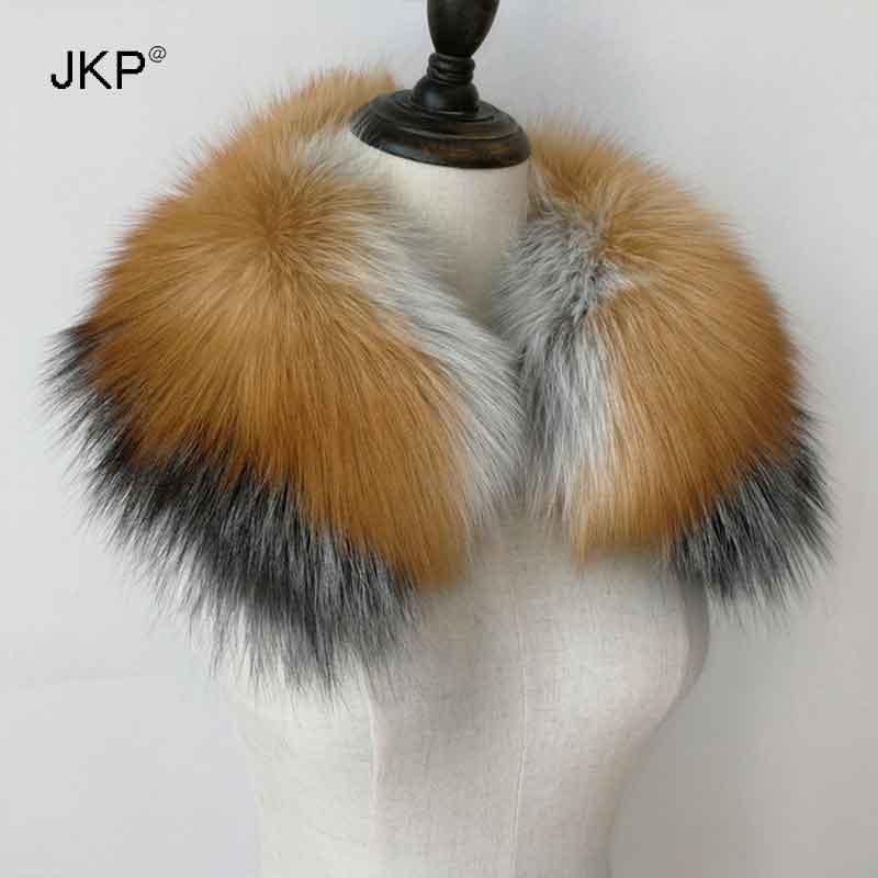 JKP 2018 hiver nouveau 100% naturel silver fox col rouge renard argent bleu renard col mode réel fourrure écharpe unisexe