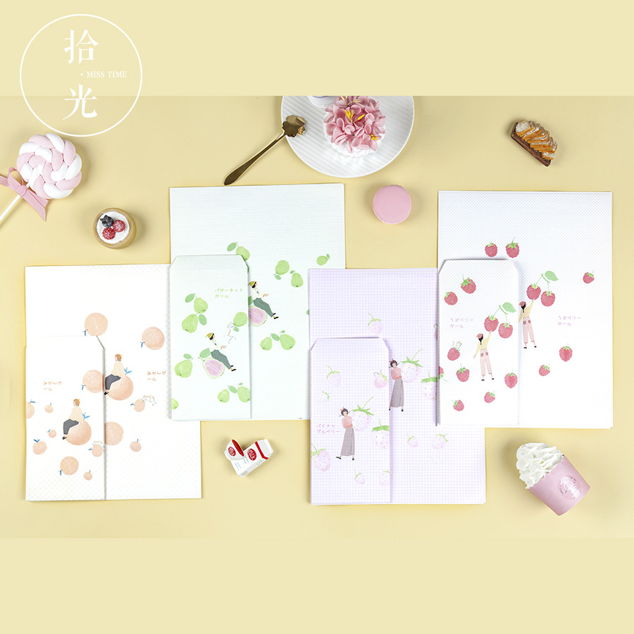 9Pcs/Set 3 Envelopes + 6 Letter Papers Sweet Fruit Series Envelope Writing Paper Gift Stationery