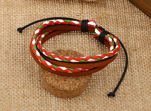 Fashion Colourful Hemp Matched with Vintage Genuine Leather