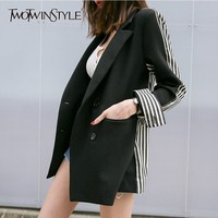 TWOTWINSTYLE Striped Blazer For Female Patchwork Long Sleeve Double Breasted Women's Jacket OL Autumn Fashion Clothing Casual