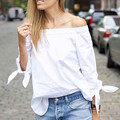 2016 new Blusas Women Blouses Solid White Elegant Bow Off Shoulder plus size Shirt Sexy Summer Blouse Women Brand Tops body