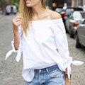 2016 nueva Blusas Mujer Blusas Solid Blanco Elegante Arco Off hombro Camisa más del tamaño Sexy Blusa Del Verano Mujeres de la Marca Tops cuerpo