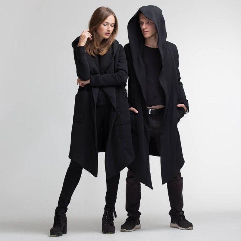 Unisex Casual Open Stitch Hooded Long Cloak Cape Coat Men Women Solid Pocket Loose Clock Coat