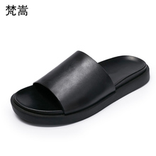 Europe leisure summer sandals Genuine Leather sandals flat soles thick soles slippers fender summer men genuine leather slippers цены онлайн