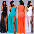 4 colors chiffon summer beach black white women 2 piece dresses side split sexy club wear party prima donna maxi dress XD514