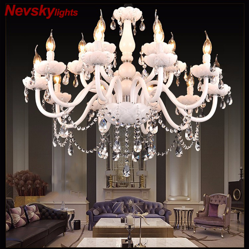 European Style White Crystal Chandeliers Modern LED Chandeliers For Living Room lustres de sala de cristal