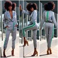 Sexy Office Lady Short Suit Set Women 2 Piece Set Plaid Jacket Blazer + High Waist Long Pant Suits Female Tracksuit