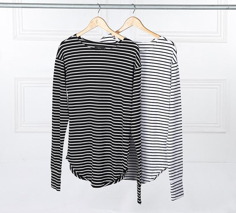 2016 hot streetwear hip hop kpop hipster urban striped curved hem tee mens clothing extra long for Extra long dress shirts