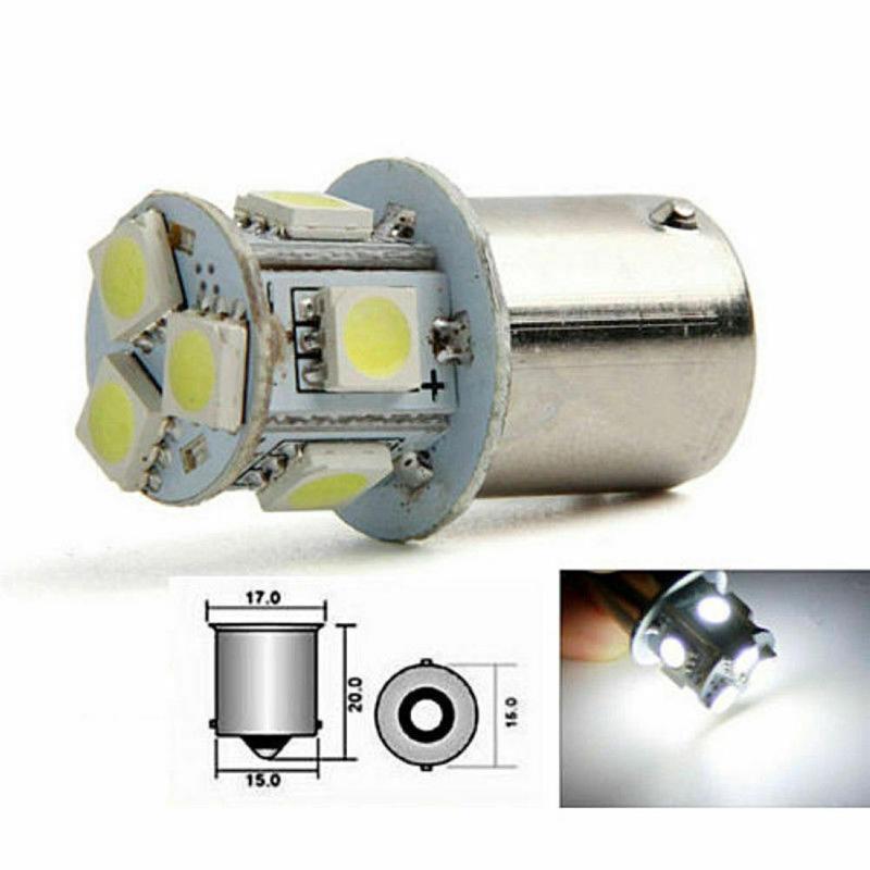 2pcs BA15S R5W 1156 5050 8SMD LED  White Car Led Turn Parking Signal Lights Brake Tail Lamps Auto Rear Reverse Bulbs DC 12V